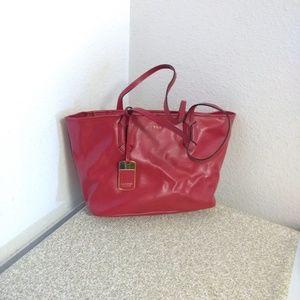Lauren Ralph Lauren Red Textured Bag
